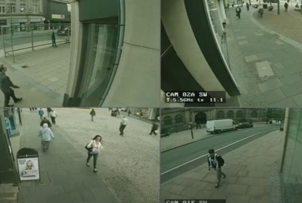 Police CCTV Day Quad Screen 02- 1 min